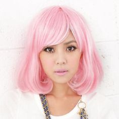 Costume Full Wigs - Wavy Pink - One Size