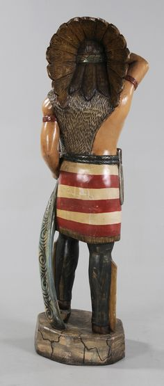 Brunk Auctions - Painted and Carved Cigar Store Indian