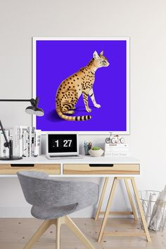 Just look at this vibrant and chic poster of elegant lynx on a purple background. Did you know that he name lynx originated from the Greek word, that means 'light, brightness'. This is a reference to the luminescence of its reflective eyes.  Hang this canvas art print in your living room or workplace and enjoy! By the way, we have a lot of alike prints in our shop, check it out! Purple Backgrounds, Lynx, Color Of The Year, Deep Purple, Canvas Art Prints, Ultra Violet, Color Trends, Workplace, Cool Art