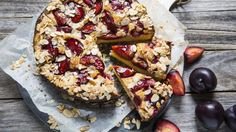 Semolina, almond & blood plum cake - This cake has a large, moist crumb and a high fruit-to-cake ratio - serve with a dollop of quality cream. Winter Cakes, Cookie Recipes, Dessert Recipes, Sweet Desserts, Springform Cake Tin, Semolina Cake, Sweet Bar, Plum Cake, Caking It Up
