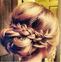 Braided romantic updo by denise. Hair Up Styles, Long Hair Wedding Styles, Wedding Hairstyles For Long Hair, Wedding Hair And Makeup, Pretty Hairstyles, Bridal Hair, Braided Hairstyles, Hair Makeup, Braided Updo