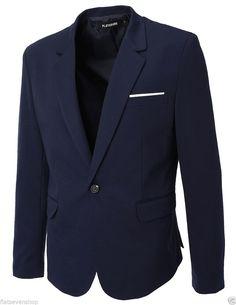 FLATSEVEN Herren Slim Fit Freizeit Premium Blazer Sakko (BJ102) Navy