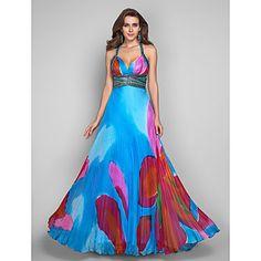 tirantes A-Line/Princess vestido de fiesta palabra de longitud gasa de la impresión de gracia de la tarde / – USD $ 128.79