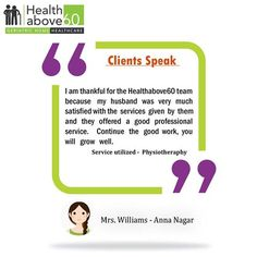 We constantly strive to exceed our customer's expectations. #Healthabove60 #PatientTestimonial #Feedback