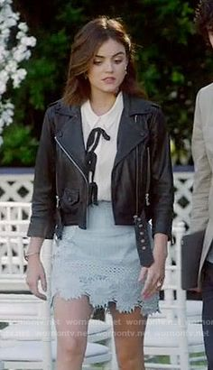 Aria's blue lace skirt, white top with bows and leather jacket on Pretty Little Liars. Outfit Details: https://wornontv.net/69449/ #PLL