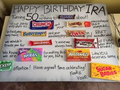 Happy Birthday Candy Cards Small Decor On Gallery Design Ideas Crafts 60th