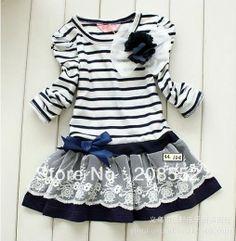 Metee Dresses Girls Bowknot Striped Tutu Dress Party Long Sleeve T-shirt Skirt Fashion Kids, T-shirt Rock, Long Sleeve Striped Dress, Stripe Dress, Dress Long, Navy Dress, Robes Tutu, Vestido Casual, Shirt Skirt