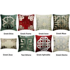 Greek Collection Decorative Throw Pillow Cover, Foil Velvet Pillow Cover with Faux Leather Applique Couch Sofa Toss Cushion Cover