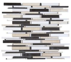 "Black, White and Beige Matte Random Brick Pattern Marble Stone Tiles Product Description Sheet Size: 14 1/4"" x 12 x 3/8"" Tile Size: Random Finished: Polished HTCESMA3"