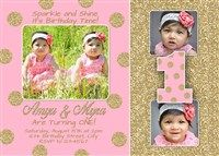 Minnie mouse polka dot 1st birthday invitations with photos pink gold glitter twins first birthday invitations polka dots filmwisefo Gallery