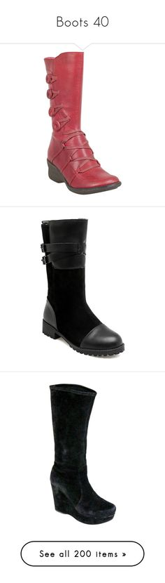 """Boots 40"" by xx-black-blade-xx ❤ liked on Polyvore featuring shoes, boots, red, mid-calf boots, mid calf fur boots, fur boots, miz mooz boots, fur wedge boots, mid calf length boots and calf length boots"