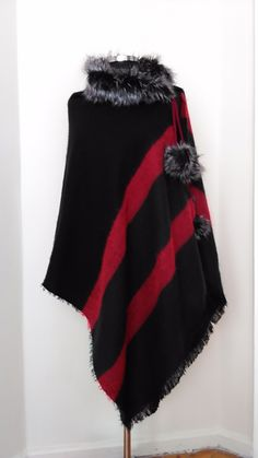 Red&Black soft shawl Women Cape Handmade wool poncho Fur Collar wrap lightweight cover-up Gift for her #classyandfashionable #style #outfitshare #todayiamwearing