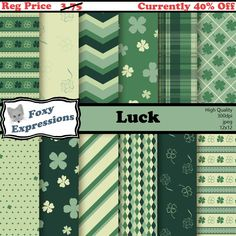 New to FoxyExpressions on Etsy: Luck digital paper pack comes in 5 shades of green. Designs include 4 leaf clovers polka dots stripes chevron plaid diamonds and more. (2.25 USD)