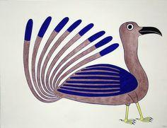 Trimmed in Blue by Kenojuak Ashevak ink & coloured pencil Arte Inuit, Inuit Art, Happy Owl, Art Therapy, Colored Pencils, Illustration Art, Birds, Ink, Artist