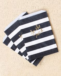 Black and Gold Striped Favor bags - See More Gold Graduation Ideas on B. Favor Bags, Goodie Bags, Treat Bags, Candy Bags, Snack Bags, Gift Bags, Gold Wedding, Wedding Day, Rustic Wedding