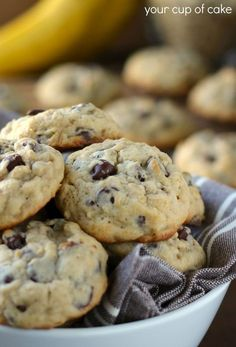 Banana Chocolate Chip cookie recipe (made these except I used 1 1/2 c of flour and 1/2 c of oatmeal, came out amazing & just as good!!;))