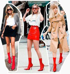 bota vermelha - skinny boots tendência da moda, combinada com mini saia #boots #botas #celebridades #estilo #moda #looks #streetstyle #vermelho #botavermelha #cool
