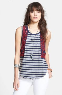 Free People 'Wear Your Sparkle' Embroidered Stripe Tank | Nordstrom
