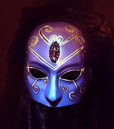 Mask Gothic Victorian Purple Hand Painted Venetian Carnivale Masquerade Mourner Black Veil Halloween Costume Unique