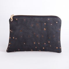 Handmade Eco Friendly Sustainable Vegan Black and Bronze Confetti Pouch