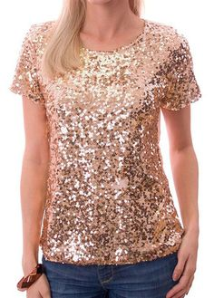 Looking for something special to spice up your wardrobe? This is it! This gold mirrored sequin top is full of shimmer that'll make any outfit look totally unique! A peach tee bedecked with gold sequins adds just the right amount of sparkle to your holiday