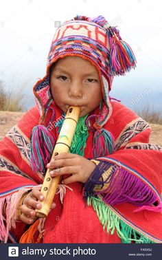Peruvian Boy In Traditional Dress Playing A Wooden Flute Stock Photo, Royalty Free Image: 92328702 - Alamy Machu Picchu, Peruvian People, Wooden Flute, Mexico Culture, Baby Faces, Folk, People Of The World, Tribal Art, Color Photography
