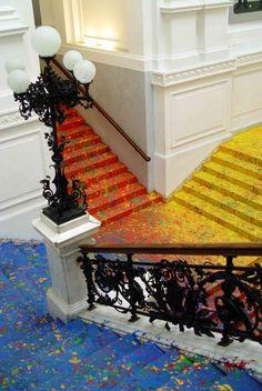 Using the gallery as a literal canvas, Tarasewicz splashed paint on its beautiful classical staircase.