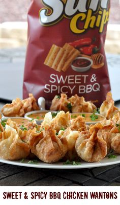 Looking for a unique way to enjoy your SunChips? Well, look no further than this Sunchips sweet and spicy BBQ chicken wanton recipe.