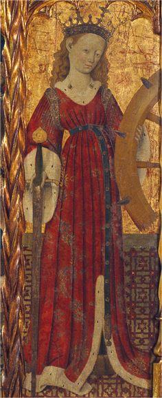 1430-40. Santa Catalina, Bernardo Martorell, Museo Nacional de Arte de Cataluña, Barcelona (detalle)