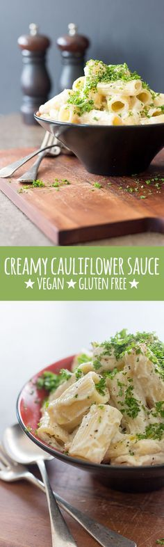 Creamy, dreamy pasta sauce made with cauliflower, cashews and a few simple flavourings. #vegan #vegetarian