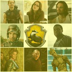 MCU Characters- Hufflepuff. Hawkeye, Darcey, Bucky Winter Soldier, Ant-Man, Black Panther, Frigga, Wong, Groot.