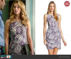 Petra's purple printed and draped dress on Jane the Virgin.  Outfit Details: http://wornontv.net/45060/ #JanetheVirgin