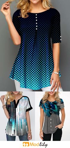 trendy tops for women online on sale Cool Outfits, Casual Outfits, Trendy Tops For Women, Clothing Hacks, Swimwear Fashion, Fashion Dresses, Short Sleeve Dresses, Clothes For Women, Blouse Dress