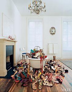 I want a bathtub full if shoes! Tabitha Simmons' New York Townhouse