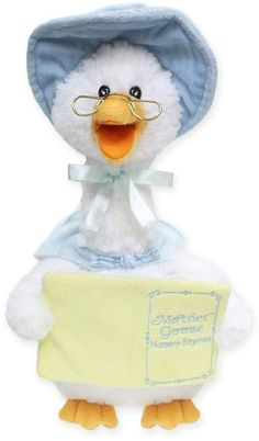 """Entertain your little one with the Mother Goose Rhyming Plush Toy. Squeeze this cute and cuddly talking goose's wing and watch as she softly sways as she recites 7 classic nursery rhymes, including """"twinkle Twinkle Little Star. Little Bo Peep, This Little Piggy, Crib Toys, Baby Toys, Talking Toys, Classic Nursery Rhymes, Humpty Dumpty, Mother Goose, Twinkle Twinkle Little Star"""