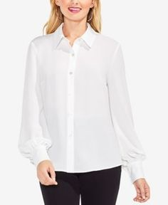 Vince Camuto Lace-Up-Back Blouse - White XL