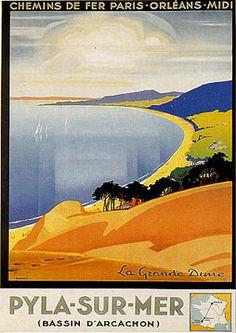 Vintage Railway Travel Poster - Pyla-sur-Mer - Bassin d'Arcachon - Atlantique - France.
