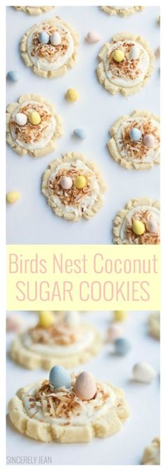 Birds Nest Coconut Sugar Cookies are the perfect and cutest treat to make for Easter. This coconut almond flavored frost. Delicious Cookie Recipes, Easy Cookie Recipes, Best Dessert Recipes, Cookie Desserts, Easter Recipes, Bar Recipes, Quick Recipes, Popular Recipes, Swig Cookies