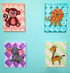 Nursery Animals-- 4 (8x10) Canvases on Etsy, $60.00