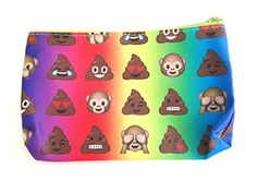 Carry your items in emoji style in this versatile zipper pouch. Holds makeup, coins, school supplies, etc. Cute rainbow canvas zipper pouch with emoji faces on both sides Zip top with green trim. Features Smiley monkey and poop faces emoji Measures approx. 7 x 5″ Assorted cute emoji face prints. Which one will you get?