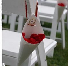 Monogrammed petal cones tied to the backs of the aisle chairs at the wedding ceremony; red rose petals scattered down the steps and onto the red aisle runner Wedding Favours, Diy Wedding, Wedding Ceremony, Dream Wedding, Wedding Day, Do It Yourself Wedding, Paper Cones, Wedding Confetti, Wedding Chairs