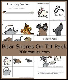 3 Dinosaurs - Bear Snores On Pack Preschool Literacy, Preschool Printables, Arctic Animals, Forest Animals, Pre Writing Practice, Pre K Activities, Bear Theme, Card Patterns, Snoring