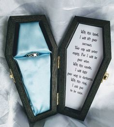 Corpse Bride Engagement ring box with Victors wedding vows inside :) only 3 avai. wedding vows Corpse Bride Engagement ring box with Victors wedding vows inside :) only 3 avai. Corpse Bride Wedding, Wedding Vow Art, Our Wedding, Dream Wedding, Corpse Bride Quotes, Goth Wedding Ring, Corpse Bride Art, Perfect Wedding, Wedding People