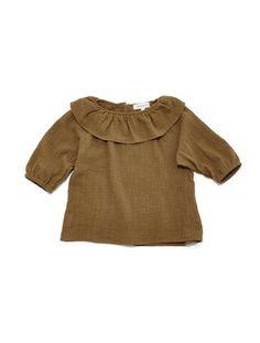 nona blouse in bronze woven slub #babyblouses