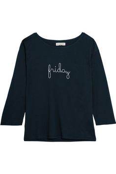 CHINTI AND PARKER Friday embroidered cotton-jersey top. #chintiandparker #cloth #tops