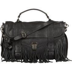 Proenza Schouler Fringed PS1 Medium Shoulder Bag (2,365 CAD) ❤ liked on Polyvore featuring bags, handbags, shoulder bags, bolsas, black, envelope clutch, zipper purse, fringe shoulder bag, fringe purse and envelope clutch bag