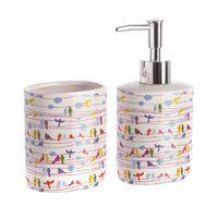 Dispensador y Vaso Gama Baño Cuco #accesoriosbano Soap Dispenser, Villa, Vase, Shopping, Bathroom Fixtures, Soap Dispenser Pump, Fork, Villas, Mansions