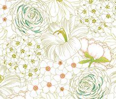 Favorite Spoonflower Designs of 2013 (No.21) Big Blooms fabric by pattysloniger on Spoonflower - custom fabric
