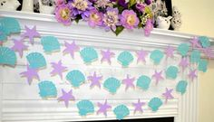 Seashell and starfish garland under the sea nautical Little Mermaid Birthday, Little Mermaid Parties, Girl Birthday, Mermaid Baby Showers, Baby Mermaid, Mermaid Beach, 4th Birthday Parties, Birthday Party Decorations, Mermaid Party Decorations