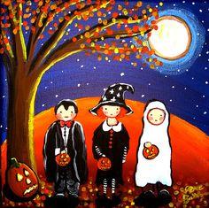 3 Little Trick or Treaters Halloween Full by reniebritenbucher, $59.99